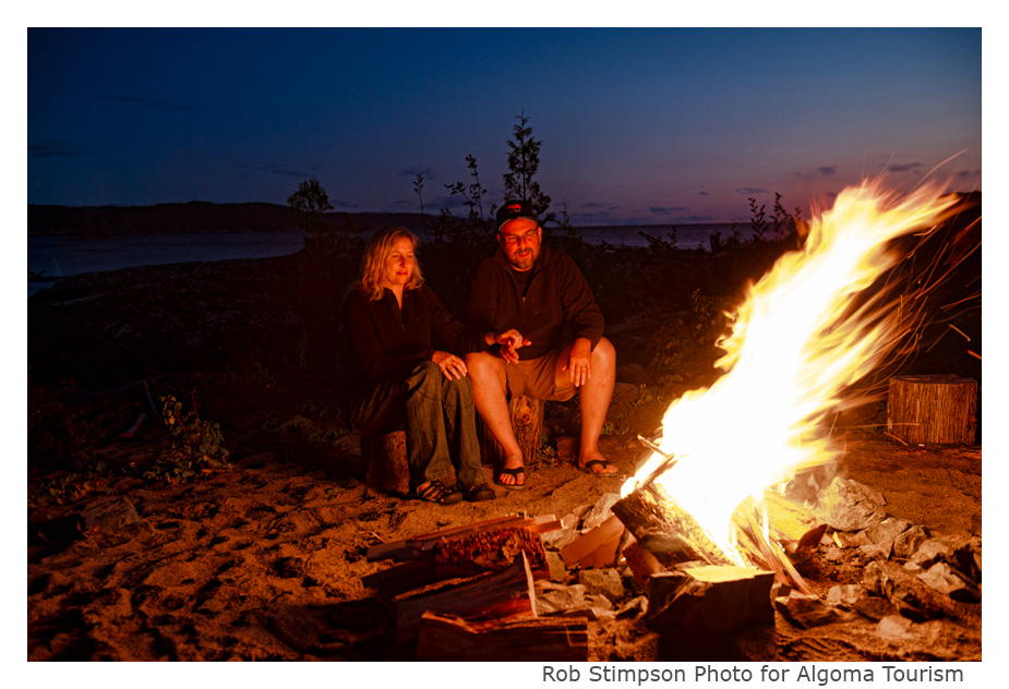 Bonfire on a Lake Superior beach